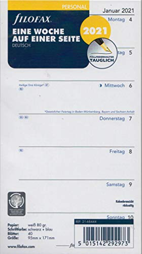 Filofax Personal 2021 A6 Kalender Wochenplaner 1Woche 1Seite Einlage Kalendarium deutsch 21-68444, Weiss