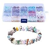 LQKYWNA Kit de fabricacin de cuentas de piedra para joyas, collares, pulseras, pendientes, con caja porttil, piedra de lava natural, cristal irregular