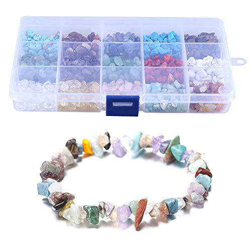 LQKYWNA Kit de fabricación de cuentas de piedra para joyas, collares, pulseras, pendientes, con caja portátil, piedra de lava natural, cristal irregular
