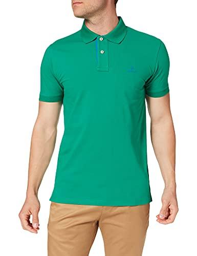 GANT Contrast Collar Pique SS Rugger Camisa de Polo, Color Verde, M para Hombre