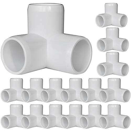 18Pack 3-Way Elbow PVC Pipe Fittings, 3/4Inch 90 Degree Elbow for SCH40 3/4' PVC Pipe, Furniture Grade Side Outlet Elbows for Building PVC Furniture Greenhouse Shed Pipe Fittings Tent Connection