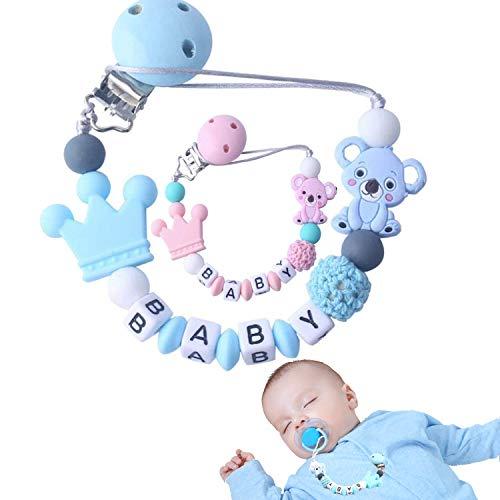 f-p Catenella porta ciuccio neonato personalizzato-[NUOVO MODELLO] clip ciuccio-catenina ciuccio (AZZURRO)