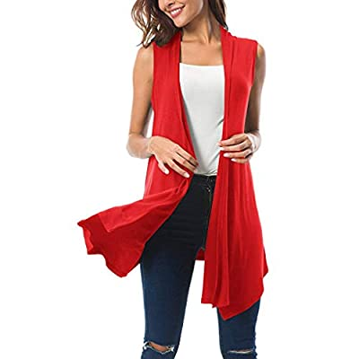 GREFER-Women Sleeveless Ombre/Solid Draped Open Front Cardigan Vest Asymmetric Hem Plus Size Red from