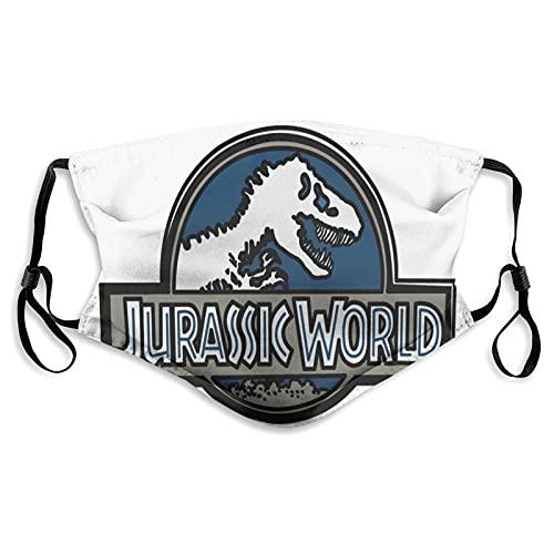 Jurassic World - Pañuelos reutilizables para la cara para adultos y adultos, con impresión linda de cara, para hombre y mujer, lavable, transpirable, ajustable, protección para la boca, con filtro