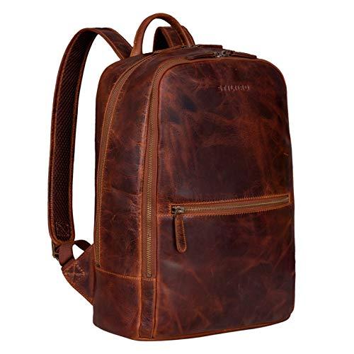 STILORD \'Kelly\' Vintage Lederrucksack Groß für Business Schule Uni Moderner Laptop Rucksack 15 Zoll Messenger Rucksack DIN A4 Echtes Leder, Farbe:Kara - Cognac