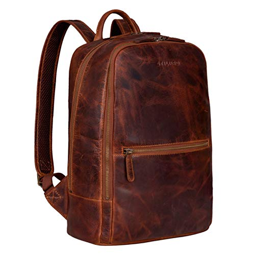 STILORD 'Kelly' Vintage Lederrucksack Groß für Business Schule Uni Moderner Laptop Rucksack 15 Zoll Messenger Rucksack DIN A4 Echtes Leder, Farbe:Kara - Cognac