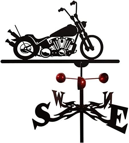 chaozhi Veleta Weathervane de Hierro y Metal con Soporte de Montaje - Diseño de Motocicleta, dirección Este, suroeste, Norte