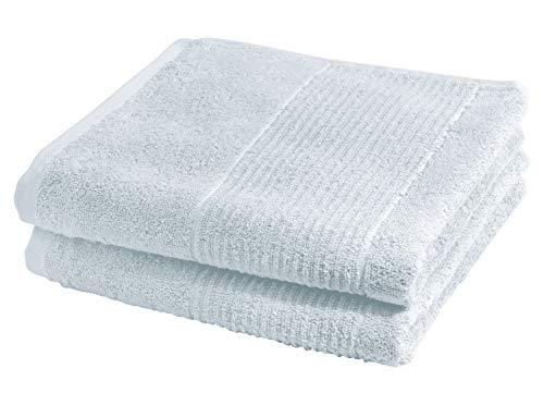 sleepling Frottier Serie Marina - Juego de 2 toallas de mano (100% algodón, 550 g/m², con cordón y ribete de diseño, certificado Ökotex 100, 50 x 100 cm), color azul claro