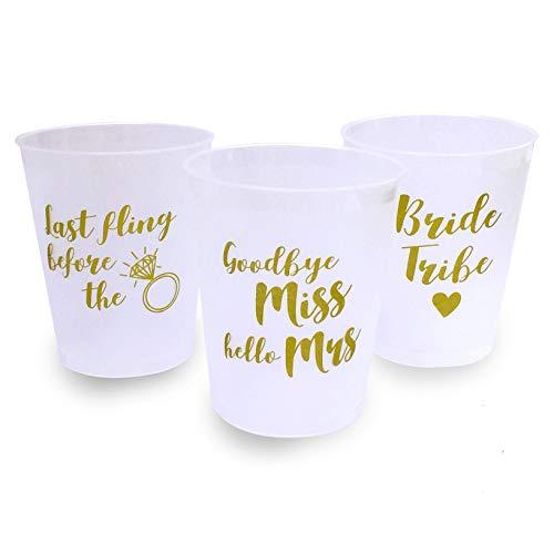 funny party stuff Trinkbecher für Junggesellinnenabschied, 12 Stück, Klassische Designs mit goldfarbenem Text – Zubehör für Junggesellinnenabschied