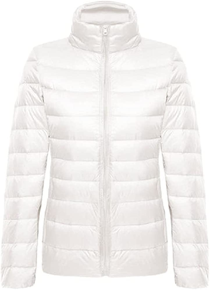 SOUGAO Womens Duck Down Jacket Lightweight Stand Collar Quilted Puffer Coat