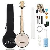 Mulucky 5 String Banjo Mini - 28 Inch Travel Banjo Maple Body Closed Solid Back Beginner Kit With Gig Bag Tuner Picks Strings Strap - B805