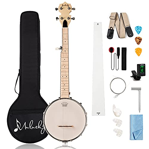 Mulucky 5 String Banjo Mini - 28 Inch Travel Banjo Maple Body Closed Solid Back...
