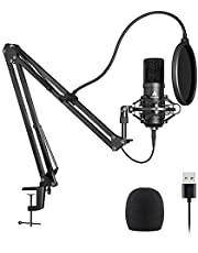 MAONO USBマイク コンデンサーマイク PC マイクセット マイクスタンド 高音質 アームスタンド付き 録音 生放送 YOUTUBE ゲーム実況 (マイクセット)