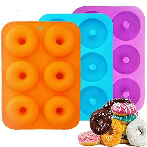 Sprießen Silikon Donut Formen, 3-teilige Silikon Donut Backform, Antihaft Donut Backblech für Kekse, Bagels, Muffins, geeignet für Geschirrspüler, Backöfen, Mikrowellen, Kühlschränke