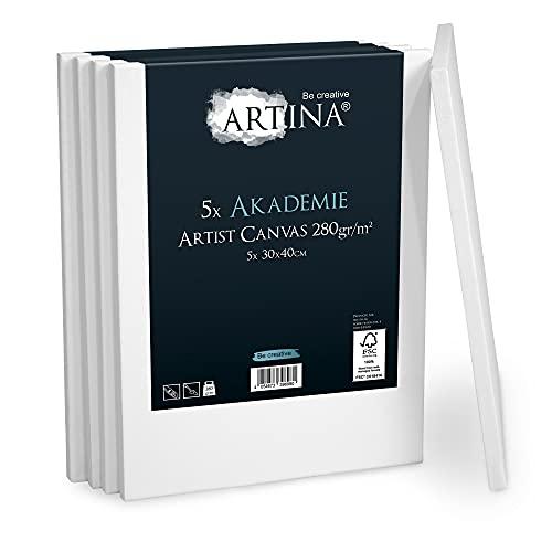 Artina Akademie Leinwand 5er Set 30x40 cm Leinwand auf FSC® Keilrahmen aus 100% Baumwolle auf stabilem Keilrahmen in Akademie Qualität - 280 g/m² zum Bemalen