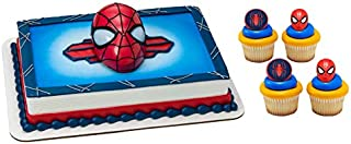 Spider-Man Ultimate Light Up Eyes Cake Topper with 24 Spider and Spider-Man Mask Cupcake Toppers and 6 Character Candles