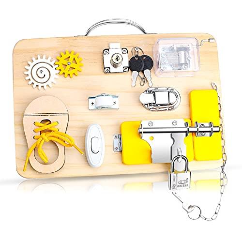 Yojoloin Montessori Besetzt Vorstand für Kleinkinder, Busy Board, Montessori Spielzeug aus Holz, Vorschulerziehung Aktivitäten und Feinmotorik Spielzeug für 3 Jahre alte Jungen und Mädchen