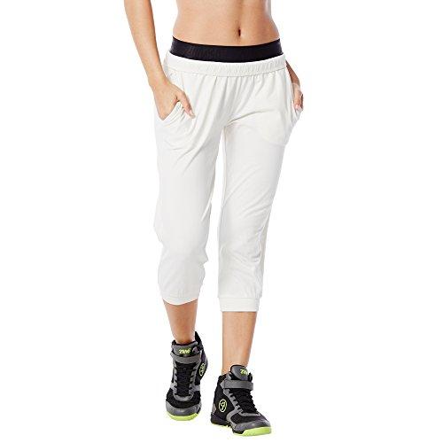 Zumba Fitness Women's Z Be Jammin Capri, White, X-Large