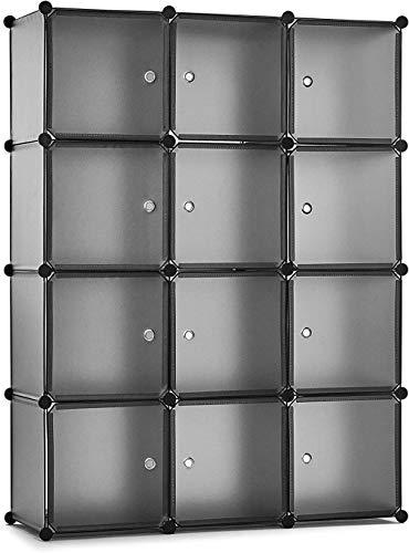 A-Generic Armadio Guardaroba Portatile Fai da Te scaffale portaoggetti Accessori per Guardaroba Giocattoli (12 cubi Grigi)-12cube