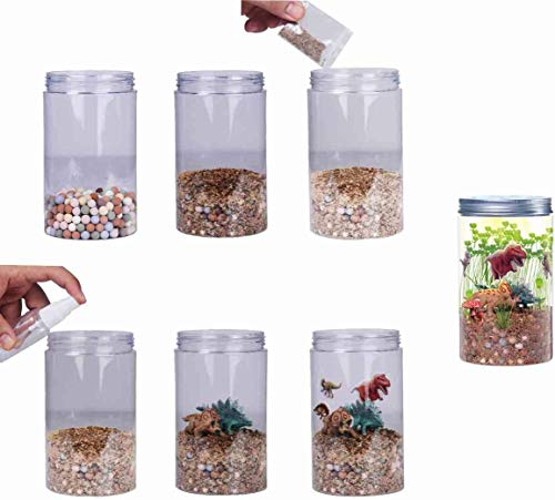 PREMIUM QUALITY Dinosaur-Fairy-Garden-in-a-Jar-Light-up-Terrarium-Kit-for-Kids-Plant-Growing-Kit-Grow-and-Glow-Terrarium-STEM-Educational-Projects-Boys-and-Girls-Crafts-for-Kids-Age-5,-6,-7,-8,-9