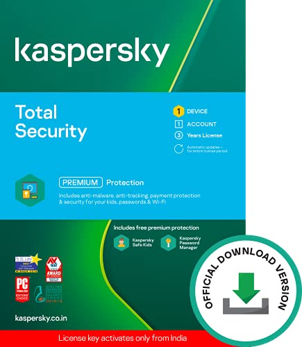 Kaspersky Total Security (Windows / Mac / Android) Latest Version – 1 User, 3 Years (Code emailed in 2 Hours – No CD)