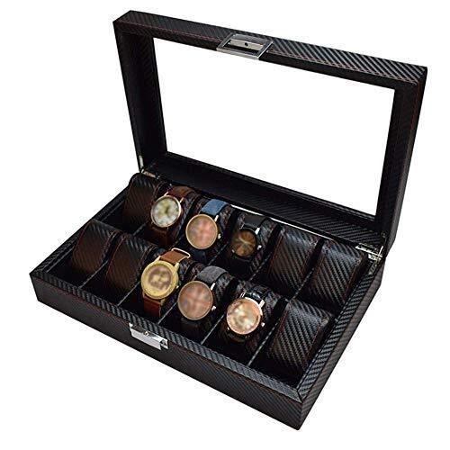 CCAN 12 Ranuras con Vitrina Superior de Vidrio Serie de exhibición de joyería Caja de Almacenamiento Escaparate de Pulseras Caja de Reloj para Hombres/Mujeres Interesting Life