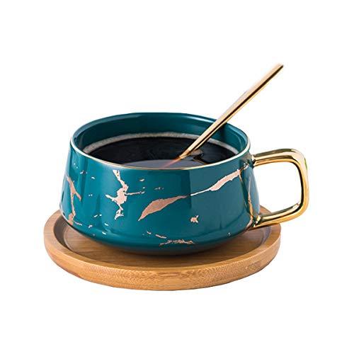 YBK Tech Porcelain Tea Cup Coffee Mug Set for Afternoon Tea - Marble Pattern (Blue, Short 300ml + bamboo saucer)
