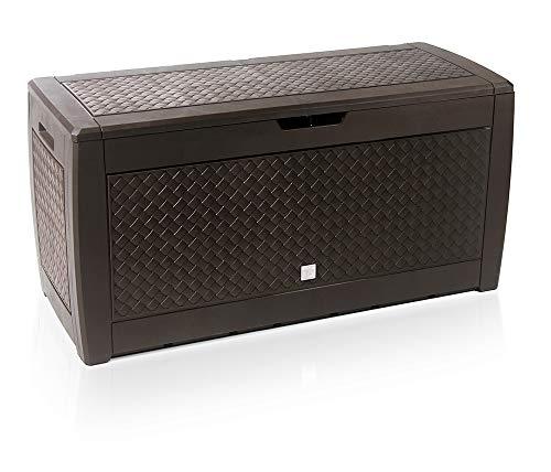 rg-vertrieb Gartenbox Auflagenbox 310L Flechtoptik Truhe Box Gartentruhe Boarde Kissenbox Gartenkasten (Anthrazit)