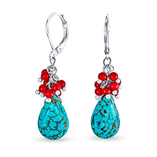 Comprimido azul turquesa teñido coral rojo lágrima pera cristal gota Leverback pendientes para las mujeres plateado latón