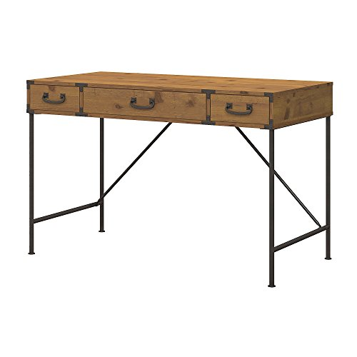 kathy ireland Home by Bush Furniture Ironworks 48W Writing Desk, Vintage Golden Pine