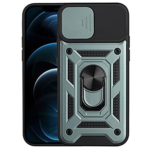 EuCase Funda para Samsung Galaxy A12 con Soporte de Anillo Giratorio de 360 Grados, Carcasa para Samsung Galaxy A12 con Protector Cámaras Deslizante, Antigolpes Antirrayas Caso - Verde