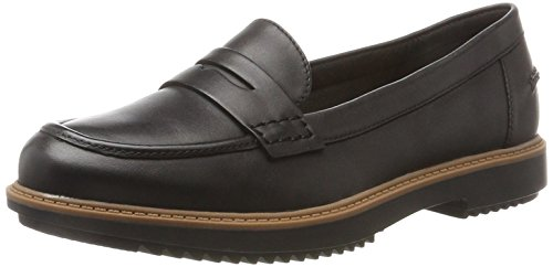 Clarks Damen Raisie Eletta Mokassin, Schwarz (Black Leather), 38 EU