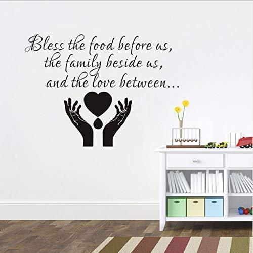Bendice La Comida Frente A Nosotros Pegatinas De Pared Decoración De La Cocina Calcomanías Artísticas De Vinilo Pegatinas Impermeables Decoración Del Hogar 66X40Cm