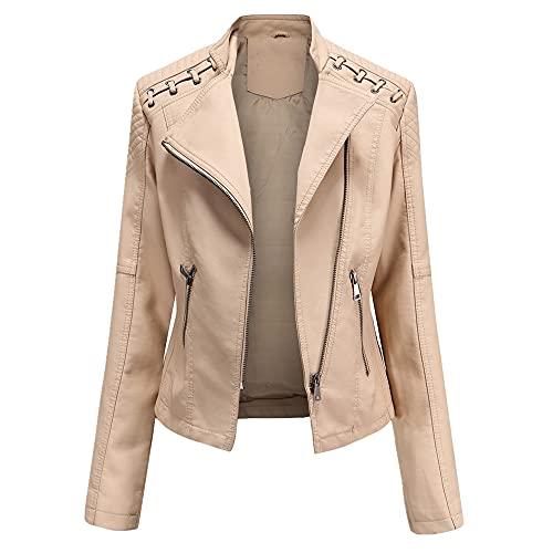 Chaquetas para las mujeres de cuero más el tamaño de la vuelta abajo cuello sólido chaqueta todo partido