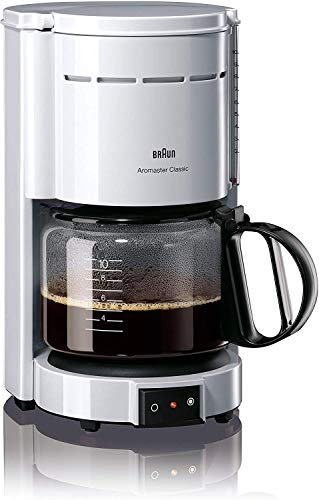 Braun Kaffeemaschine KF 47 WH - Filterkaffeemaschine mit Glaskanne für klassischen Filterkaffee, Aromatischer Kaffee dank OptiBrew-System, Tropfstopp, Abschaltautomatik, weiß