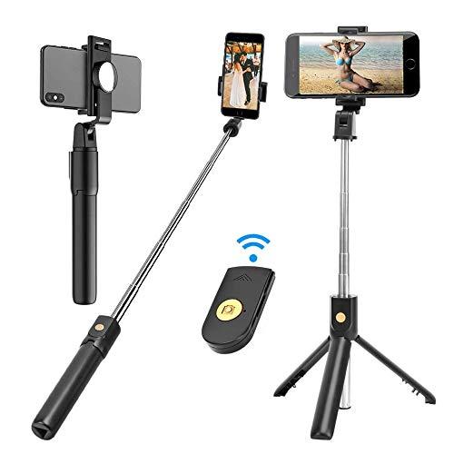 Draadloze Selfie Stick, Selfie Statief Met Afneembare Afstandsbediening En Achteruitkijkspiegel, Uitschuifbare Monopod Stand Houder Voor IOS Android Mobiele Smart Phone Zwart