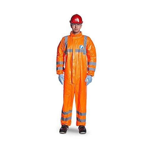 DuPont Tyvek 500 HV | Chemikalienschutzkleidung mit Kragen, Kategorie III, Typ 5-B und 6-B | Fluoreszierendes Orange mit grauen reflektierendenstreifen | Größe XXL