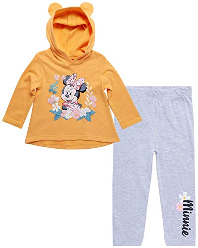 Disney Baby Girls Minnie Mouse 2-Piece Hoodie and Leggings Pants Set (Newborn and Infant), Size 18 Months, Minnie Gold W-Sugar