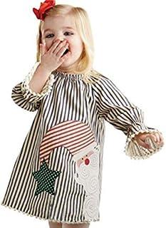 fenging3 クリスマス 子供ドレス かわいい ファッションガールズワンピース 縞模様 サンタクロースプリント長袖スカートカバーオール 女の子 キッズ プレゼント 1-5歳