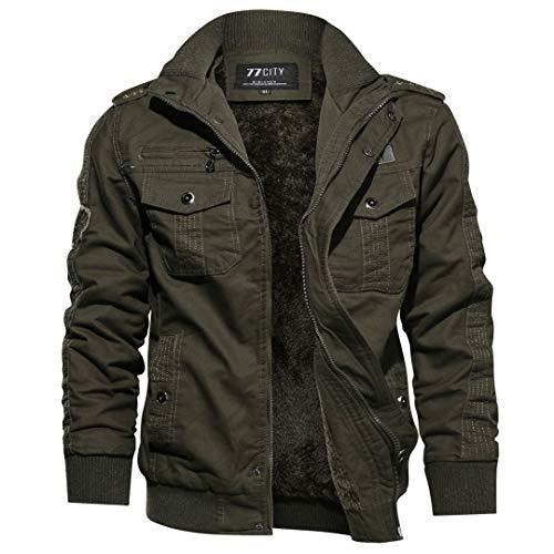 Chaqueta algodón para Hombre con Forro Piel cálida para Exteriores piloto Militar la Fuerza aérea Chaqueta algodón para Moto Army Green M