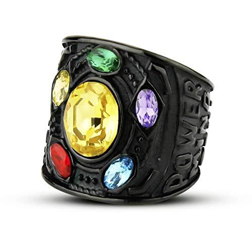 Valily Herren Ring Marvel Avengers Schwarz Edelstahl Thanos Power Gauntlet Ringe für Damen/Jungen Party Kostüm Zubehör Größe 54