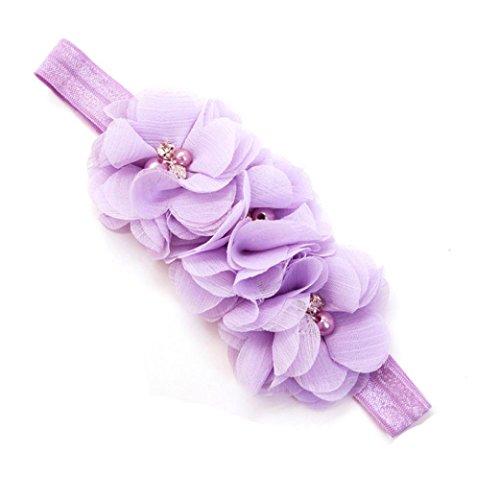 K-youth Diademas Niñas Flores, Moda Diademas Bebe Niñas Fiesta Elasticas Chiffón Floral Banda de pelo Cintas Para El Pelo Niñas Accesorios Para El Cabello Bautizo Cumpleaños (Púrpura)