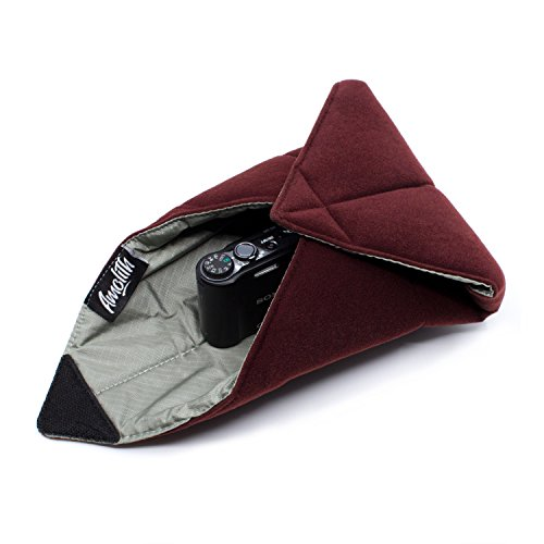 Amolith® Einschlagtuch (gepolsterte Schutzhülle) für Kameras, Fotoausrüstung und vieles mehr – Dunkelrot (30 x 30 cm) | AML-8513