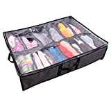 Under Bed Shoe Storage Organizer Set,Underbed Large Capacity Folding Shoes Closet Storage Solution for Adults and Kids,Fits 12 Pairs Total,Sturdy Breathable,26.77'X21.65'X5.51'inch