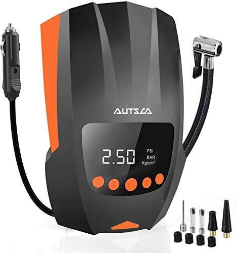 AUTSCA 12V Luftkompressor, Tragbarer elektrischer Luftkompressor mit LED-Bildschirm und langem Kabel geeignet für Autos, Fahrräder, Motorräder, Schlauchboote und Bälle