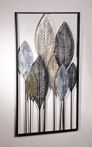 3D Wandbild Blätterwald aus Metall, 52x95 cm, in Metallic-Tönen, Wandschmuck, Wanddeko, Wandverzierung, Deko-Objekt
