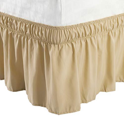 Piccocasa: Betthusse aus gebürstetem Polyester mit drei Stoff-Seiten, elastische Staub-Rüschen, einfache Passform-Falten – mit 38,1 cm Länge, baumwolle Polyester, camel, Doppelbett