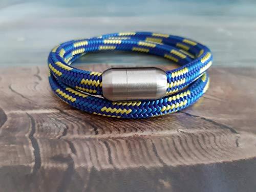 Handmade, Damen, Herren, Armband Edelstahl- Segelseil, Seil Wickel Armband Dunkel Blau, Mittel Blau & Gelb, Größe frei wählbar