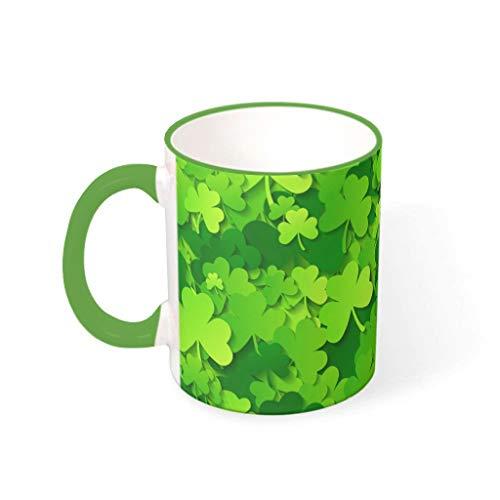 Fineiwillgo Taza de café de porcelana con asa multicolor, regalo para Pascua, verde irlandés, 330 ml