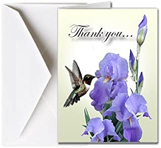 Funeral Memorial Service Thank You Cards with Envelopes (25 Count) FTKC1188 Hummingbird and Iris Flower (Family Name Custom Printed - Select Desired Verse)